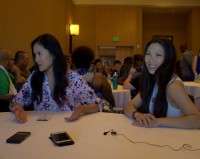 Deedee Magno Hall and  Michaela Dietz, Steven Universe Press Room, SDCC 2016